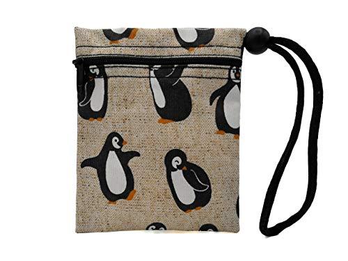 Plan B, Bolsa Porta Mascarilla, Pingüino, 12 X 14 cm, 1 Cremallera, Asa Ajustable, Beige Estampada