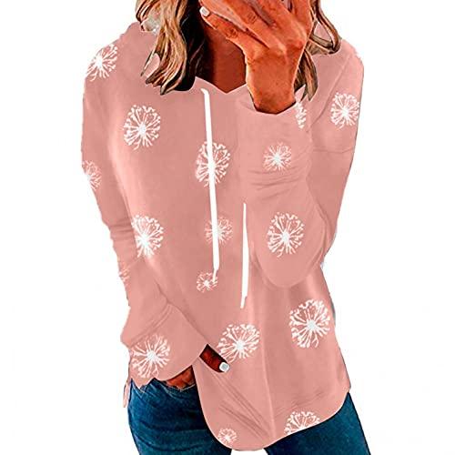 LCLrute - Sudadera de mujer para invierno, manga larga, con capucha, estilo informal, holgada, cuello con capucha, talla grande con capucha, 01#rosa, XXL