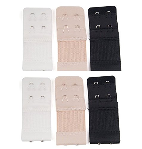 6pcs Women Ladies Soft Comfortable Back Bra 2x 2 Hooks Band Extension Strap Extender, white/black/nude