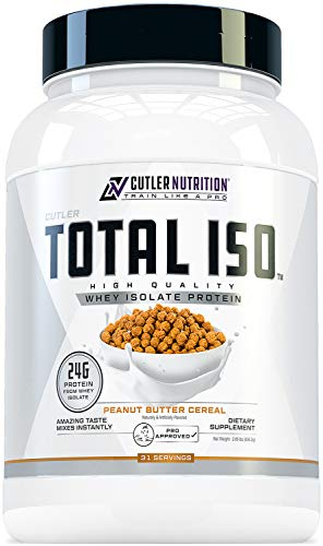 Total ISO Whey Isolate Protein Powder: Best Tasting Whey Protein Shake Featuring 100% Whey Protein Isolate, Perfect Post Workout Protein Powder Mix, Peanut Butter Cereal, 2 Pounds