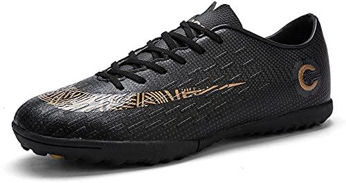 CPBY Capacitación Adolescente para niños Anti-Deslizamiento de Zapatos Deportivos Zapatos de fútbol para Hombres Botas de Tobillo Antideslizante de fútbol de fútbol, Black Broken Nails - 49 M EU