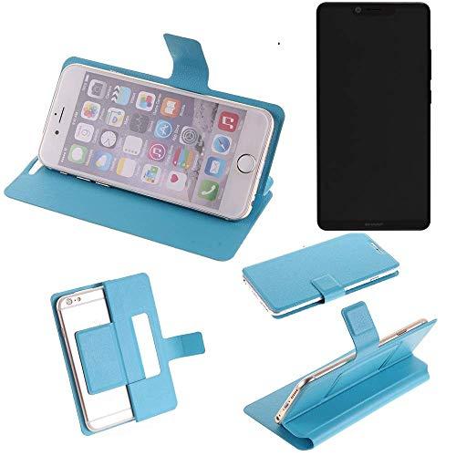 K-S-Trade® Flipcover Für Sharp Aquos D10 Schutz Hülle Schutzhülle Flip Cover Handy Case Smartphone Handyhülle Blau