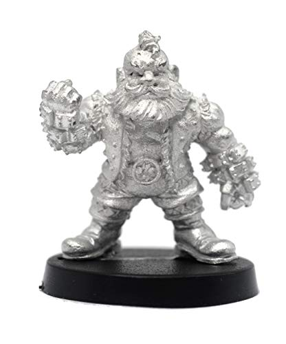 Stonehaven Miniatures Male Dwarven Brawler Miniature Figure, 100% Pewter Metal - 25mm Tall - (for 28mm Scale Table Top War Games) - Made in USA