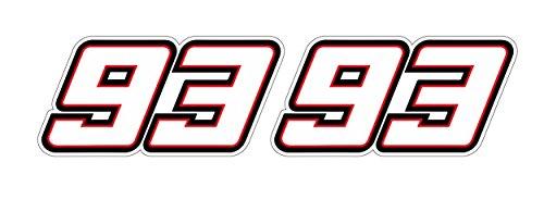 Startnummer 93 Marc Marquez Aufkleber Motorrad Rennen MotoGP Racing Sachsenring Assen Le Mans Mugello Sticker / Plus Schlüsselringanhänger Kokosnuss-Schale / Auto BMX Fahrrad (2 Aufkleber 20x9.8cm)