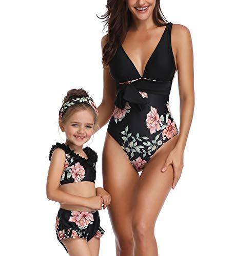 Vawal Mutter und Tochter EIN Stück Familie Bikini Bademode Blumen Bügel Frauen Baby Mädchen Badeanzug Strandkleidung (Mädchen/6-8T, Schwarz)