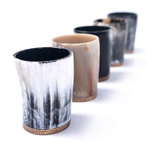 Set bicchierini da shot Norse Tradesman in corno di bue (5) - Mini tazze da 60 ml per brindisi