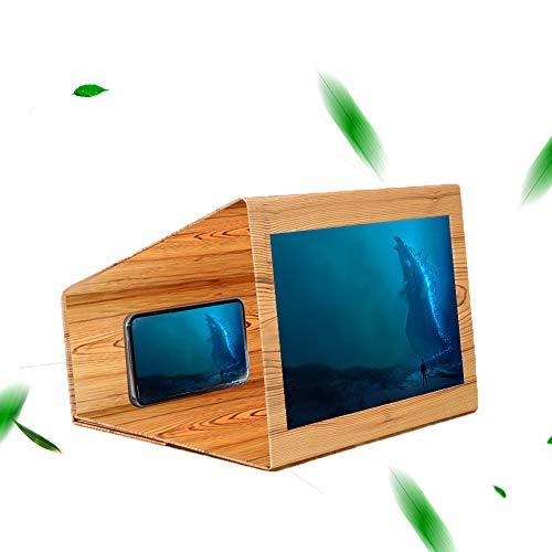 Teepao, Lente d'Ingrandimento 3D per Schermo del Telefono, Amplificatore stereoscopico HD, Schermo di Film e Video, con Supporto Pieghevole in Legno per Tutti Gli Smartphone, Lente d'Ingrandimento