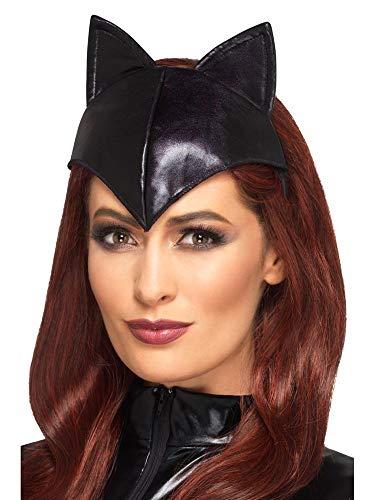 shoperama Catwoman Haarreifen mit Ohren und Stirnteil Katze Kopfschmuck Kostüm-Accessoire Kopfbügel Zubehör Wet-Look