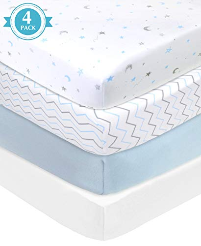 Buy Cheap American Baby Company 4 Piece 100% Cotton Jersey Knit Fitted Sheet for Playard Mattresses,...