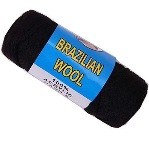 African Hair Knitting Yarn Wool Hair Brazilian Sengalese Twisting Jumbo Braids Reggae Dreadlocks Style 70g/Bundle Black