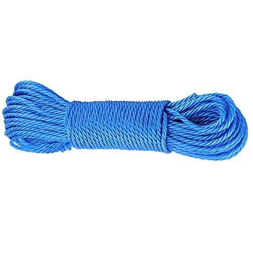 Tissting Cuerda de Nailon Sólido de 65pies, Nudo de Cuerda de Nailon Multifunción para Tender la Ropa para Acampar, Jardín, Escalar, Nudo, Columpio(Azul)