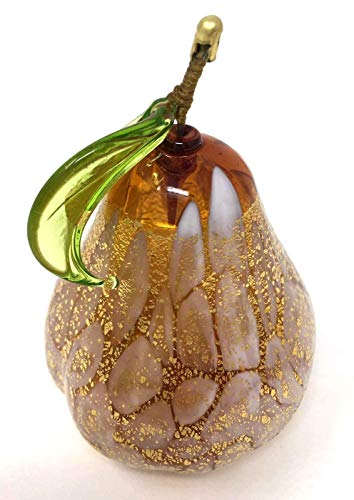 Murano Glass Fruit, Blown Amber Pear with Gold Foil, Made in Italy