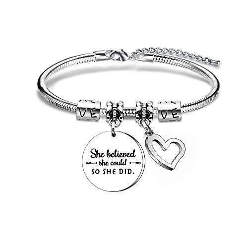 Pulsera con cita inspiradora, regalo para mujer, niña, regalo para hija, sobrina, hermana, mejores...