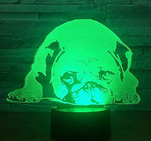 Creativity 3D Illusion Lamp Pug Picture Night Light 16 Colors Changing with Smart Touch and Remote Control Table Lamp with USB Power Cable Perfect Gifts for Children