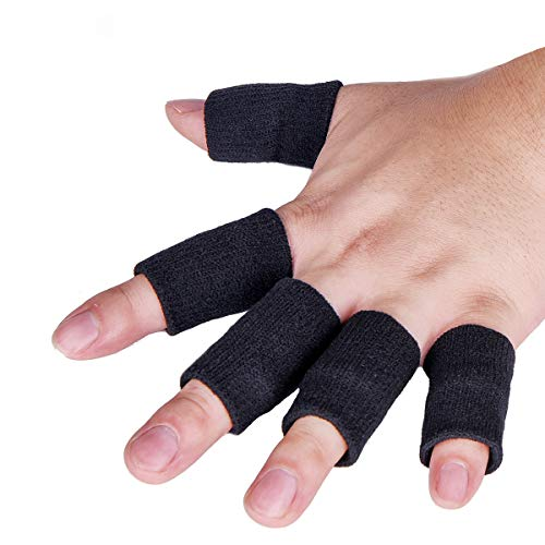 Luniquz Finger Sleeves, Thumb Splint Brace for Finger Support, Relieve Pain for Arthritis,Triggger Finger, Compression Aid for Sports, Black