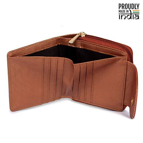 The Clownfish Women's Faux Leather Wrist Wallet Clutch Purse (Brown)