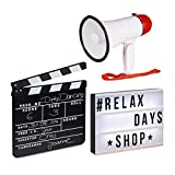 Relaxdays Pack de Caja de Luz Led con Letras, Claqueta Cine Negra y Megáfono Portátil 10 W