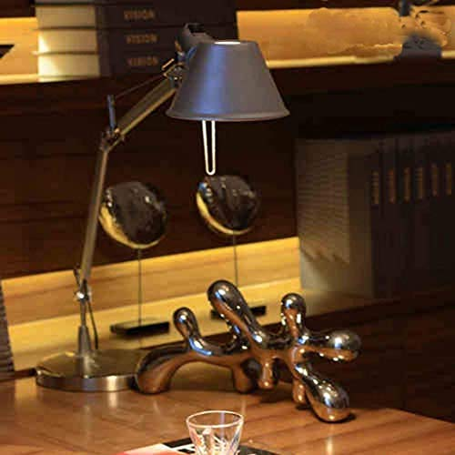 L-WSWS Lámpara de escritorio Lámparas de mesa, personalidad simple Oficina de Trabajo de lámpara de estudio, hierro forjado luces de lectura S Plata luz de la noche