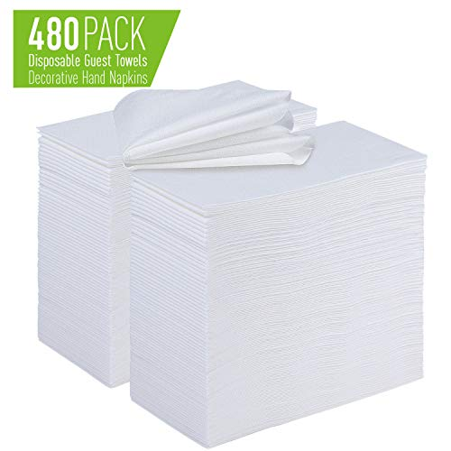[480 Pack] Disposable Hand Towels For Bathroom   Linen Feel Guest Hand Towels   Soft and Absorbent White Paper Hand Napkins for Kitchen, Parties, Weddings, Dinners or Events