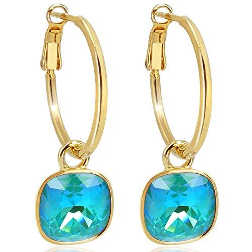Gold Creolen Charm Swarovski® Kristalle Ohrringe 925 Sterling Türkis NOBEL SCHMUCK