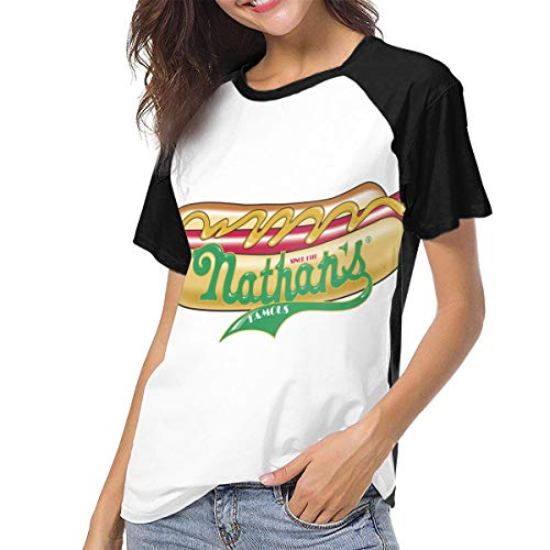 Nathans Hot Dog Eating Contest 4th of July Joey Chestnut Champion Women Sport Short Sleeve Baseball T Shirts Black