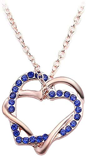 LBBYMX Co.,ltd Collar Collar Estilo de Verano Cristal Doble corazón Colgante Joyas Amor Corazón Collar Día de San Valentín Collar Joyas Collar