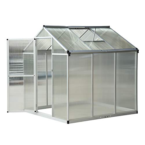 Outsunny Clear Polycarbonate Greenhouse Aluminium Frame Large Walk-In Garden Plants Grow Galvanized Base 6 x 6ft
