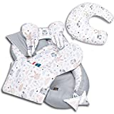 6-tlg PALULLI Baby Ausstattung-Set - Babynest 95x55cm, Stillkissen, Baby-Matratze, Kuscheldecke, Flachkissen, Nackenkissen, kuschelweich für Babys (WALD BRAUN-Stillkissen)