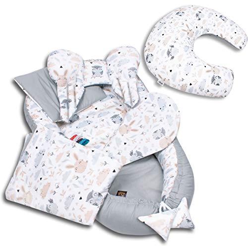 6-TLG PALULLI Baby Ausstattung-Set - Babynest 95x55cm, Stillkissen, Baby-Matratze, Kuscheldecke, Flachkissen, Nackenkissen, kuschelweich für Babys