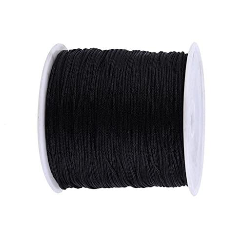 PINGDONGHANG 1pc Cordnylon rebordear hilo cadena nudo chino cuerda Rattail hilo negro para bricolaje joyería
