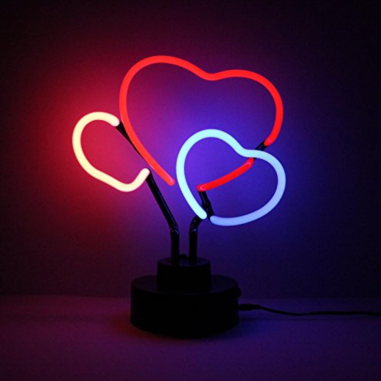 Icon Neon Triple Entwined Heart Real Neon Lighting Skulptur mehrfarbig