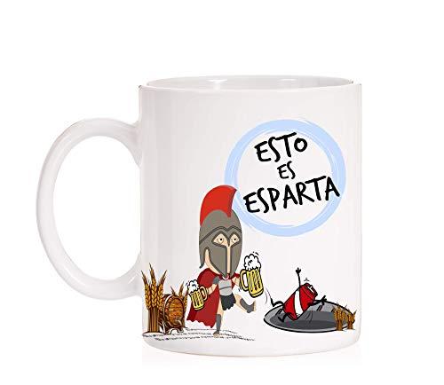 Taza Esto es Esparta. Taza divertida con una cerveza expulsando a un refresco. Ideal para frikis, cinéfilos, amantes de la pelicula de espartanos.