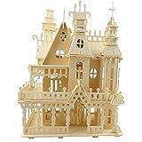 aolongwl Jigsierras de madera 3D construcción casa adulto artesanía niños madera DIY niños Asamblea de juguete modelo de construcción kits regalo castillo en miniatura
