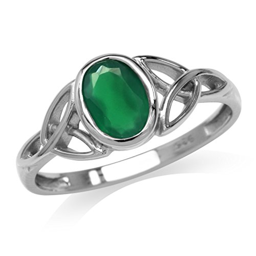 Silvershake Natural Emerald Green Agate White Gold Plated 925 Sterling Silver Triquetra Celtic Knot Ring Size 6.5