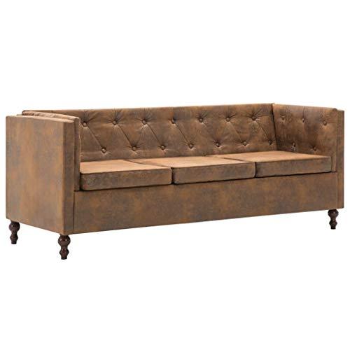 Tidyard Chesterfield Sofa Couch Sofa Garnituren 3 Sitzer Sessel 176 x 68 x 70 cm Vintage-Wildleder-Optik,Holzrahmen + Stoffpolsterung,Braun