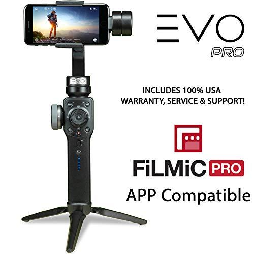 EVO Pro smartphone fotocamera stabilizzatore con focus Pull & Zoom - 3 assi Gimbal funziona con iOS iPhone e Android Smartphone | ci 1 anno di garanzia e supporto