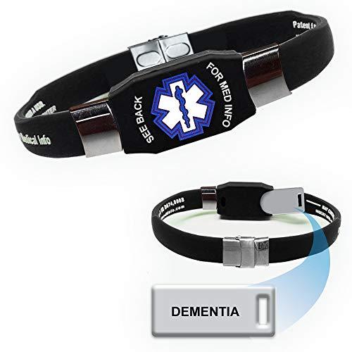 """Dementia"" Elite Medical Alert ID Bracelet for Men and Women"