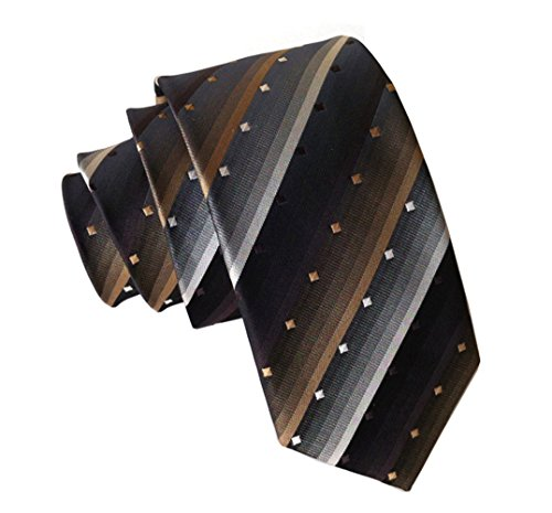 Secdtie Men Striped Brown Black White Jacquard Woven Tie Business Necktie 614