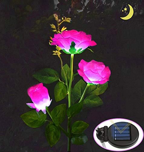 MMTX Luces LED Decorativas Rosas Solares, IP65 Luz Solar Al Aire Libre Del Jardín Para Exterior Solares, Jardín, Patio, Caminos(Rosa)