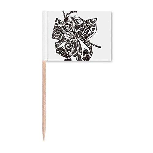 Japanische Traditionelle Kultur Kimono Samurai Zahnstocher Flaggen Marker Topper Party Dekoration