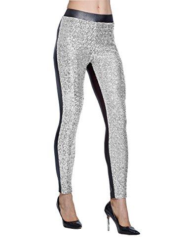 Lotus Instyle Damen Hosen vorne mit Pailletten Leggings Silver-XL