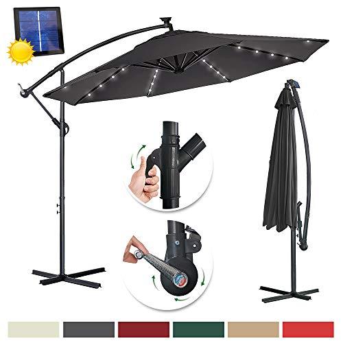 UISEBRT 350cm Alu Sonnenschirme höhenverstellbarer mit Solarbetriebene Warmweiß LED - Dunkelgrau Gartenschirm Balkonschirm UV Schutz 40+ (350cm mit solar LED,Dunkelgrau)