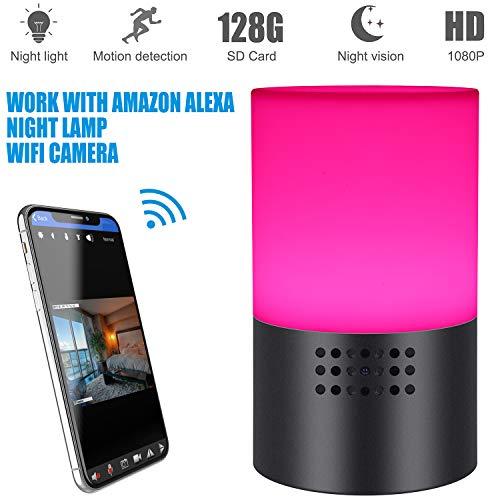 Cámara espía con lámpara WiFi, Mini cámara Oculta 1080P HD con luz Nocturna remota y Colorida, Funciona con Alexa, detección de Movimiento para vigilancia de Seguridad en el hogar