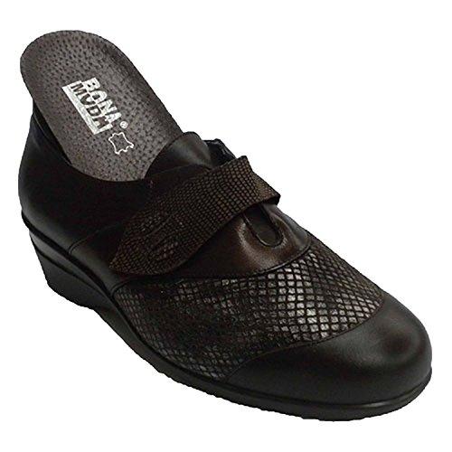 Zapato Mujer con Velcro y la Pala de Licra Especial Plantillas ortopédicas Manuel Almazan en marrón Talla 36