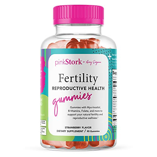 Pink Stork Fertility Gummies: Strawberry Fertility Supplements for Women to Support Healthy Cycles, Fertility Prenatal Vitamins + Vitamin C + Folate, Women-Owned, 90 Fruit Juice Gummies