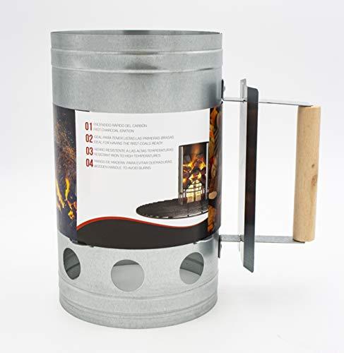Encendedor de carbón para barbacoa Para encender la parrilla Arrancador Chimenea Chimenea de 27 x 17 cm. Chimenea de encendido Parrilla (GRIS)