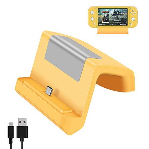 Shumeifang Switch Dock, Base de Carga Mini Portátil para Nintendo Switch & Switch Lite, Puerto de Carga USB Tipo C, Compacto Reemplazo Muelle de Carga para Nintendo Switch/Switch Lite - Amarillo