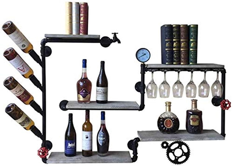ディスクケント軽減するレトロな壁掛けワインラックハンギングワインラック木製メタルワイン棚ウォールマウントワインボトルボトルHoldeウォールは家庭用マウント 棚 シンプルトラック