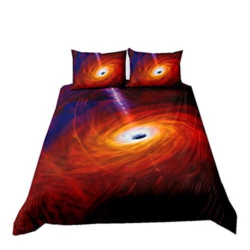Juego de Funda Nórdica Dream Galaxy Ropa de Cama Para el Espacio Exterior Universo Cielo Estrellado Nebulosa Remolino Microfibra Funda de Edredón Niños Sueño Cómodo (Naranja, 240_x_220_cm Cama 135 cm)