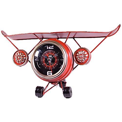 UniqueGift Tischuhr im Vintage-Stil, Flugzeug-Uhr, Metall, Rot